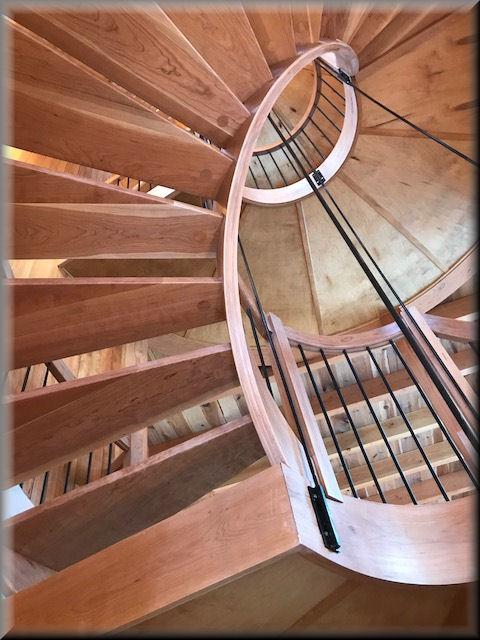 Twin Black Cherry 11u0027 Diameter Stairs With Black Iron Balusters