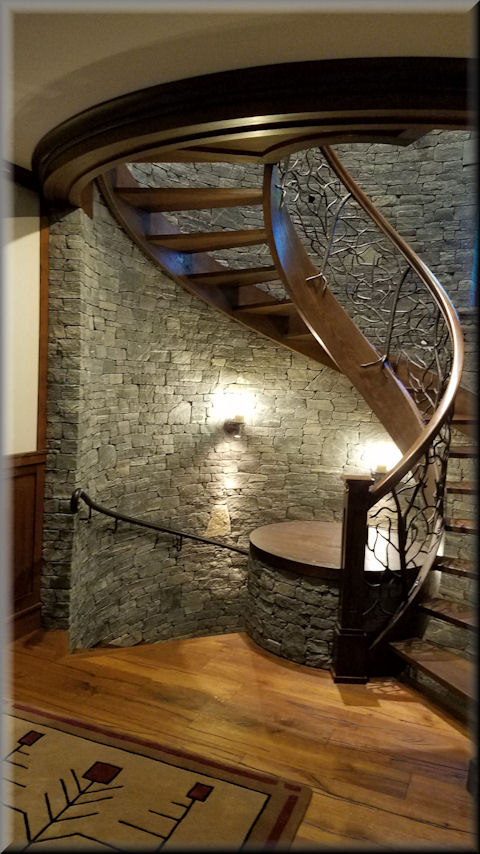 White Oak Stair And Rail With Forged Iron Balustrade
