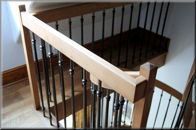 Alder Well Rail With Oil Rubbed Bronze Balusters