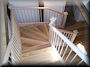 Maple winder stair with recoverd pine treads