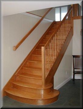 Amazing Flame Red Birch Custom Straight Stair Set With USS 14 Profiled Rails