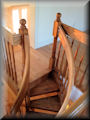 "Red Oak 5' 6"" 3QT with profiled rails and turned baluster & newel posts"